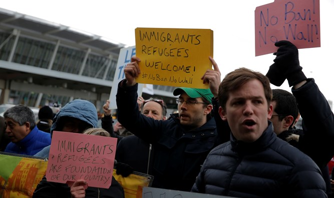 Protest outside JFK airport against Trump's immigration ban