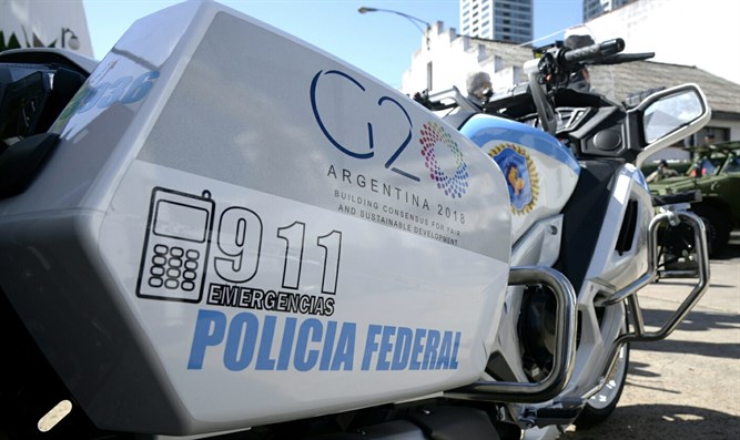 Federal Police motorcycle with G20 logo