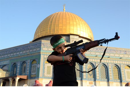Hamas headband and toy gun on Temple Mount