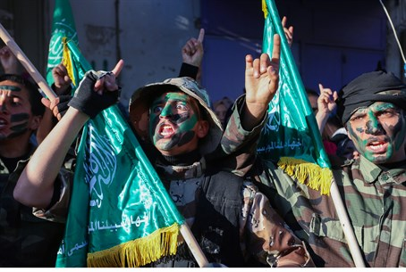 Hamas supporters near Rafah in Gaza