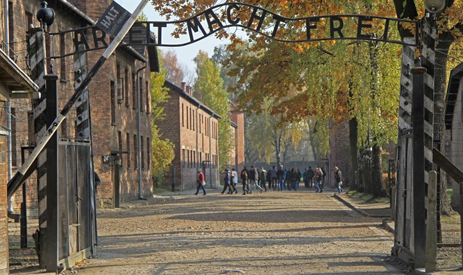 Auschwitz with the famed 'Arbeit Macht Frei' sign